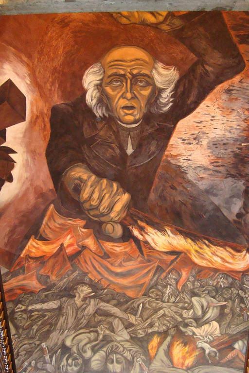 Mural de Miguel Hidalgo en el Palacio de Gobierno de Guadalajara