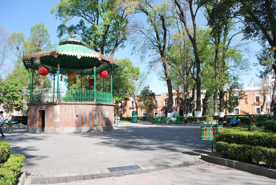 Gazebo de la Plaza Principal de Tlaxcala en el centro histórico
