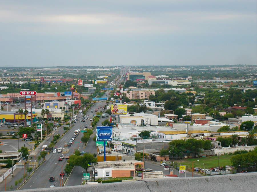 Vista aérea de la avenida Reforma en Nuevo Laredo