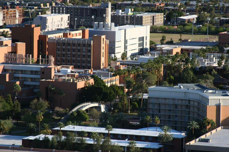 Vista panorámica de la Universidad Estatal de Arizona campus Tempe