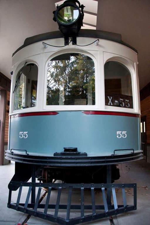 Carro de ferrocarril Interurban Car 55 de 1909 en el Parque Heritage