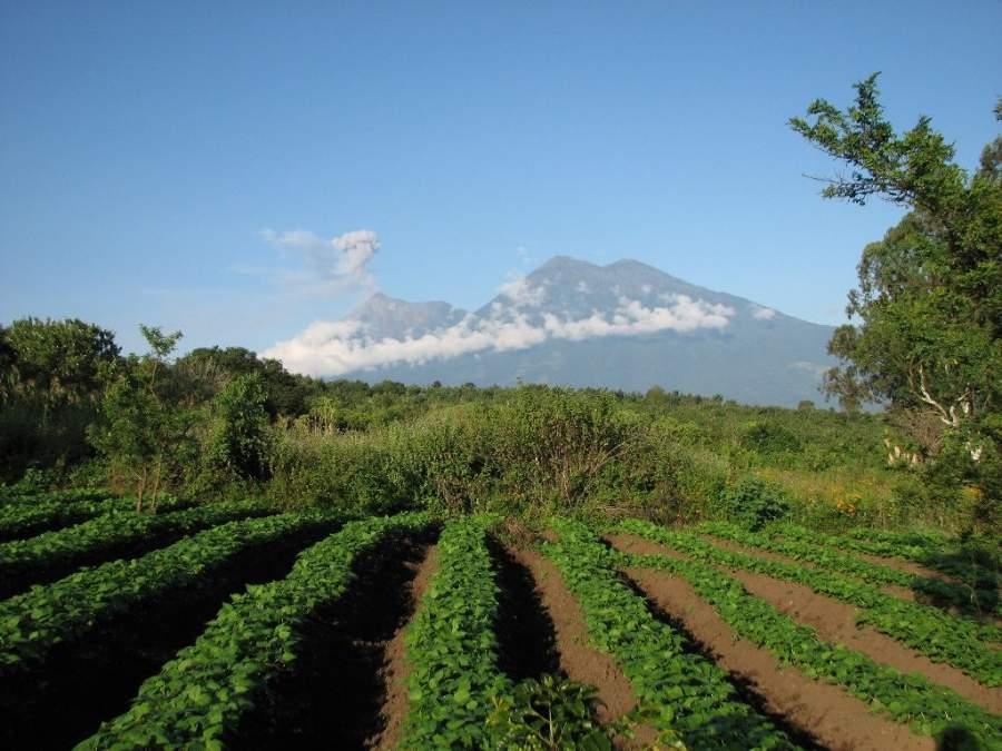 Panorama de los campos y el volcán en San Pedro Las Huertas