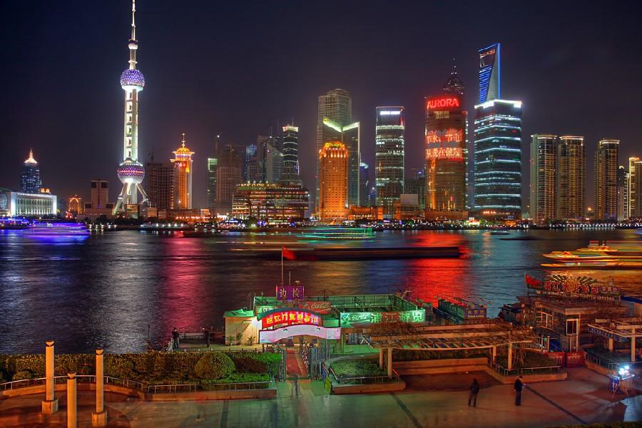Río Huangpu de noche