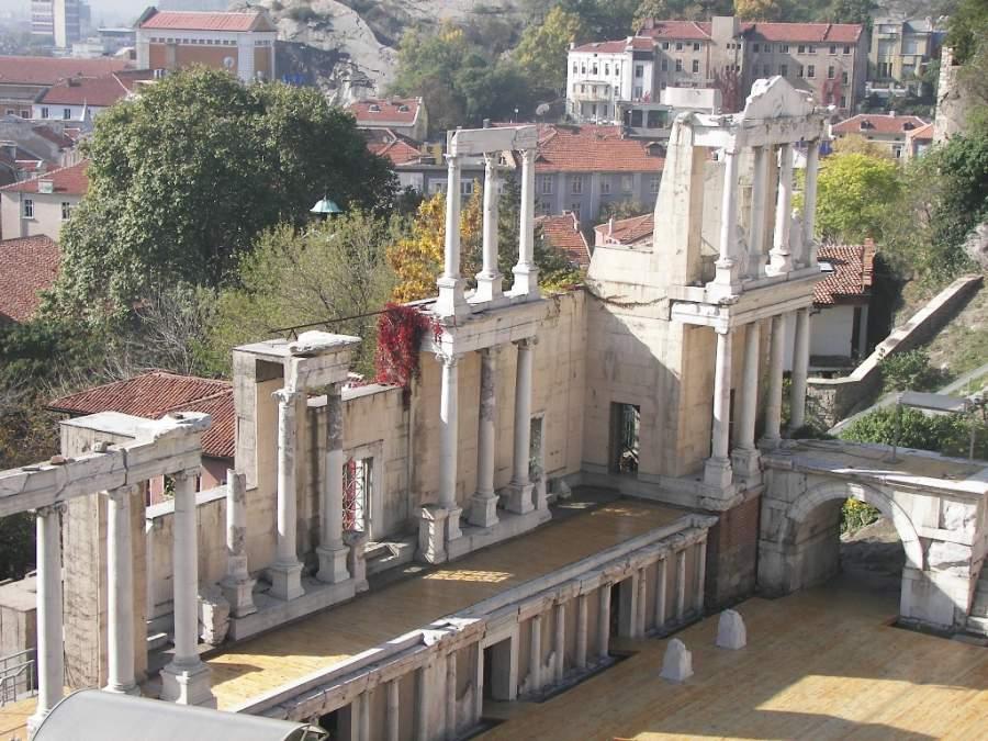 Escenario del teatro romano en Plovdiv