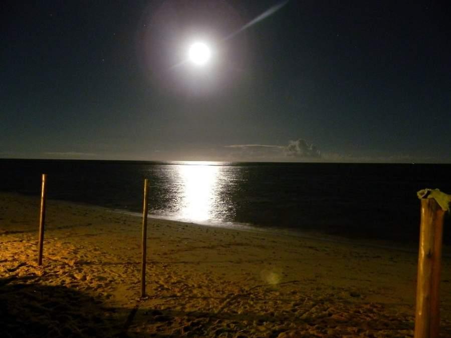 Un espectáculo natural en Arraial d'Ajuda es la luna llena naciendo del mar