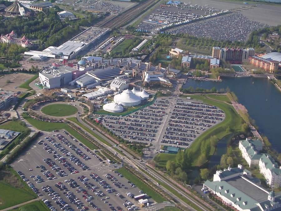 Vista aérea de Disneyland Resort Paris en Marne-la-Vallée