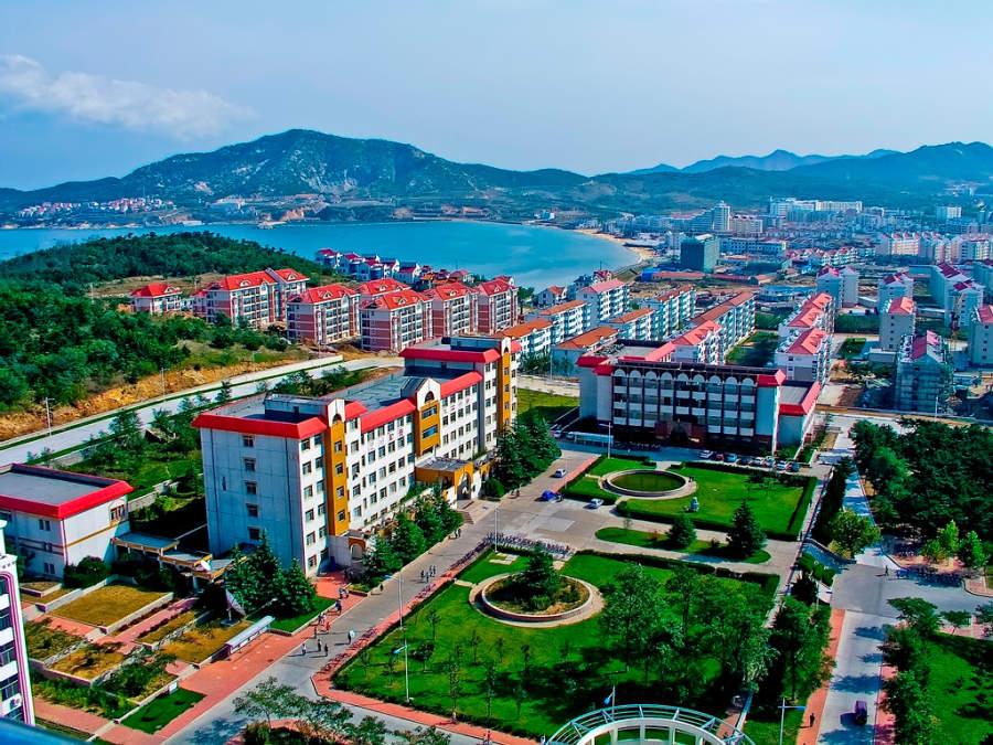 Vista panorámica de la Universidad de Shandong en Weihai