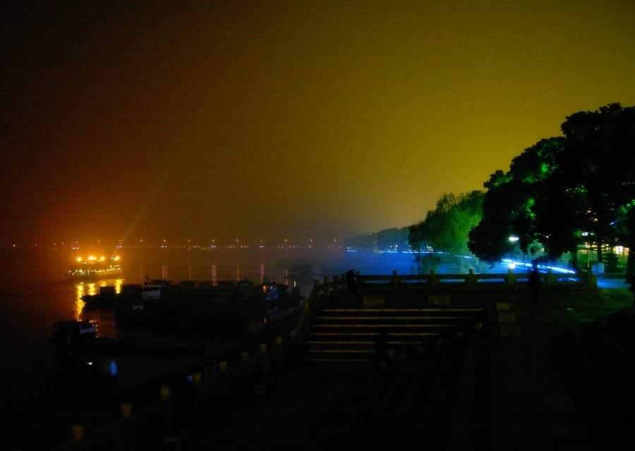 Vista nocturna del río Xiang en Changsha