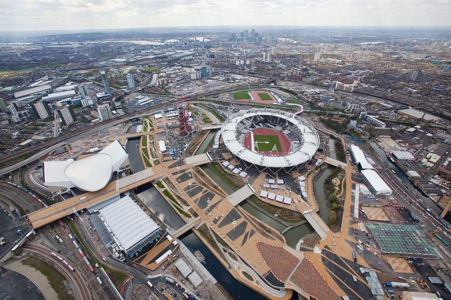 Vista aérea del Parque Olímpico de Londres en Stratford