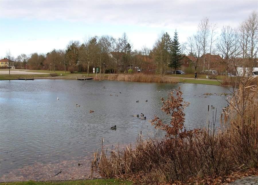 Lago en el parque de la ciudad de Unterhaching