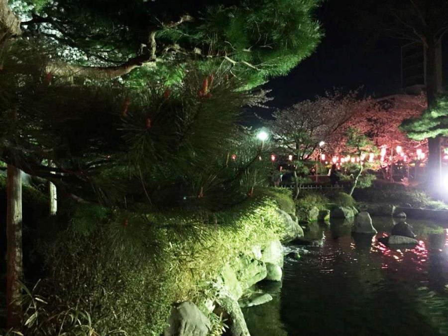 Panorama nocturno del Parque Rojo en Komatsu
