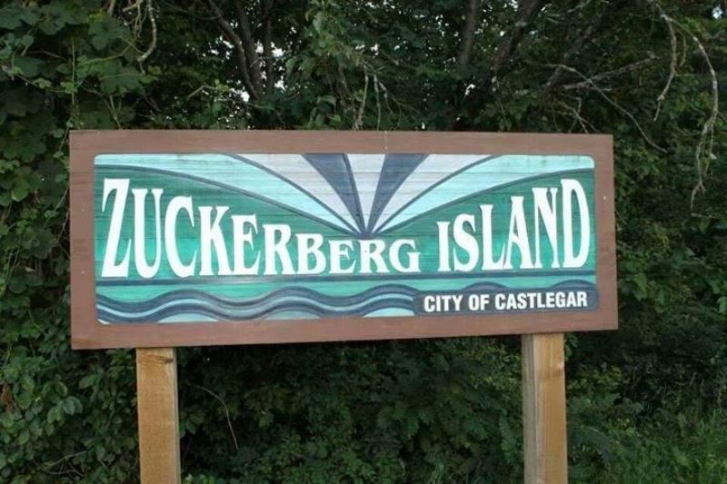 Letrero en la isla Zuckerberg