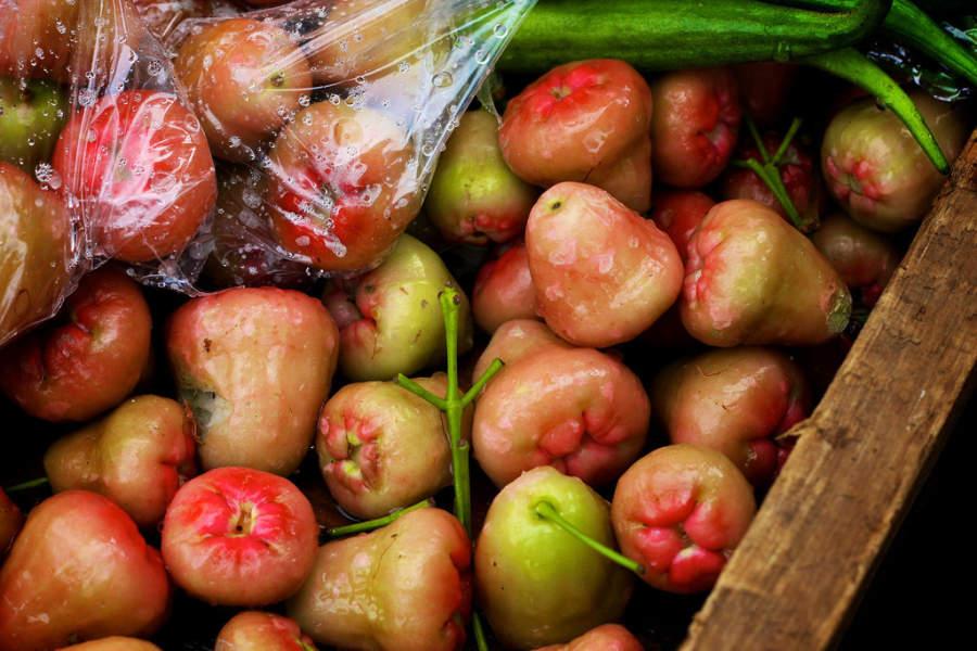 Wax apples, frutos de la región de Castries, Saint Lucia
