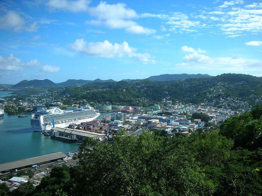 Vista panorámica de Castries, Saint Lucia