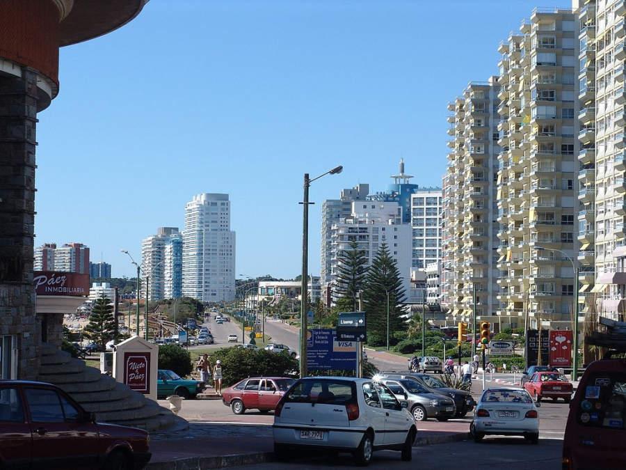 Importante avenida de Punta del Este
