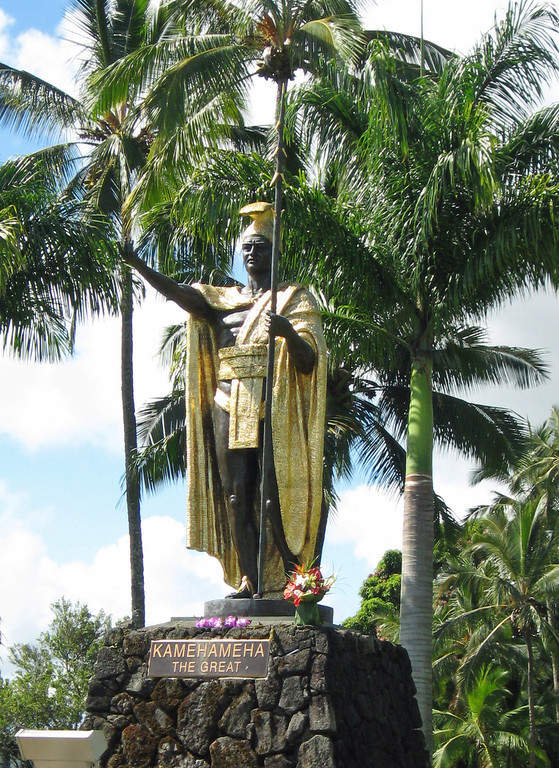 Estatua de Kamehameha I en Wailoa River State Recreation Area