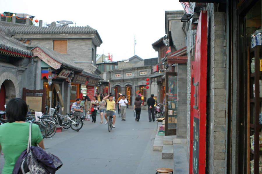 Mercado en las avenidas de Hutong en Beijing
