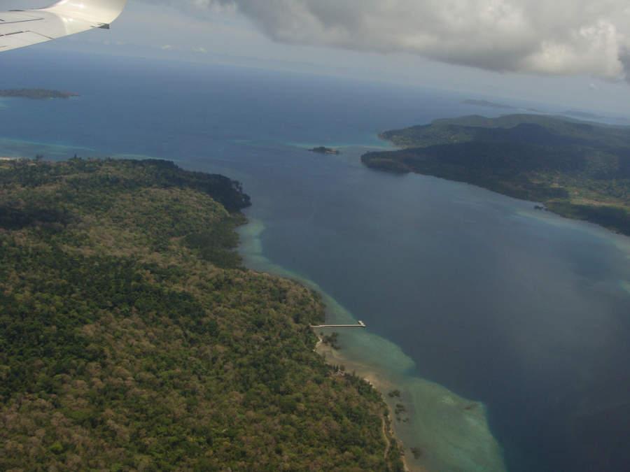 Vista aérea de la región de Port Blair