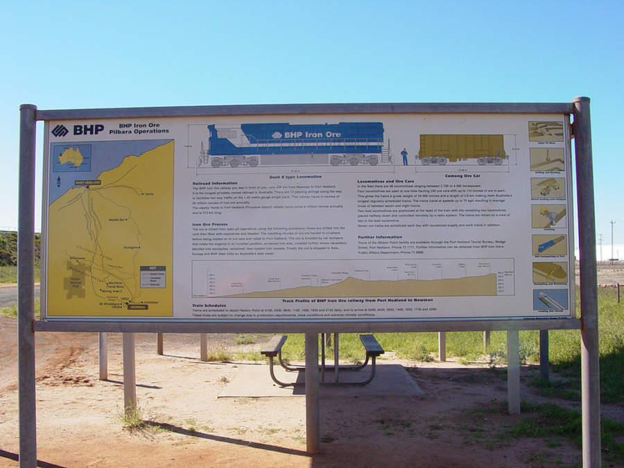 Mapa de rutas del tren BHP Iron One en Port Hedland