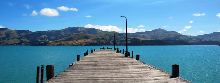 Muelle en la bahía de Akaroa