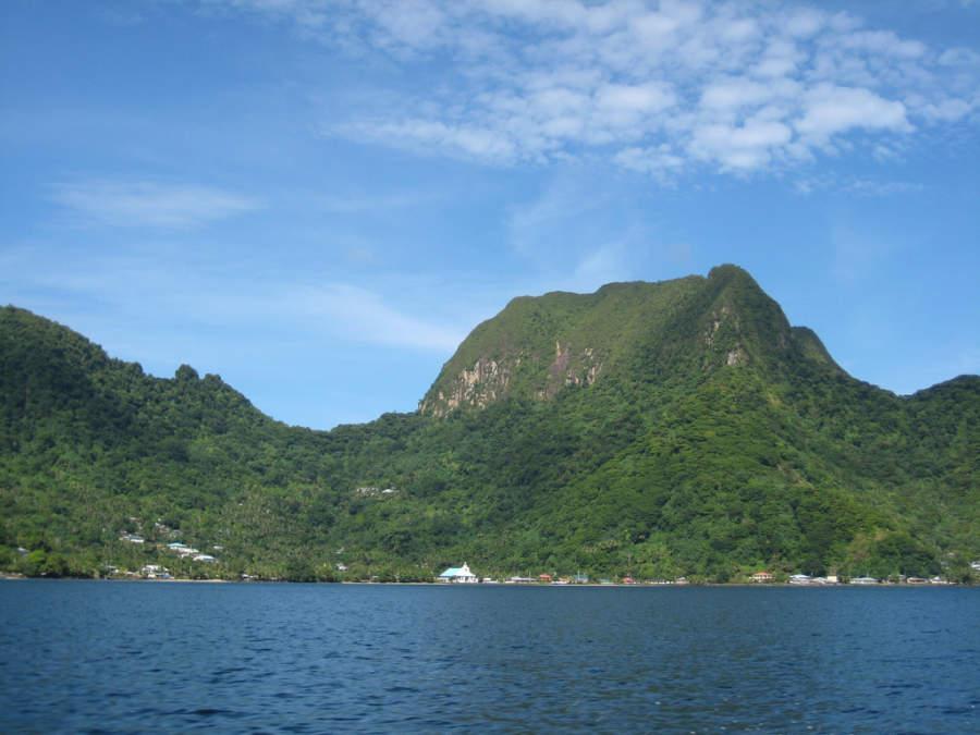 Montañas en la región de Pago Pago