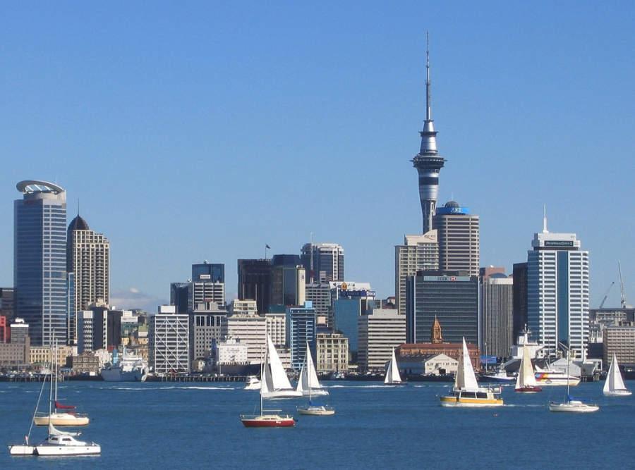 Puerto de Auckland, ciudad ubicada en la isla Norte de Nueva Zelanda