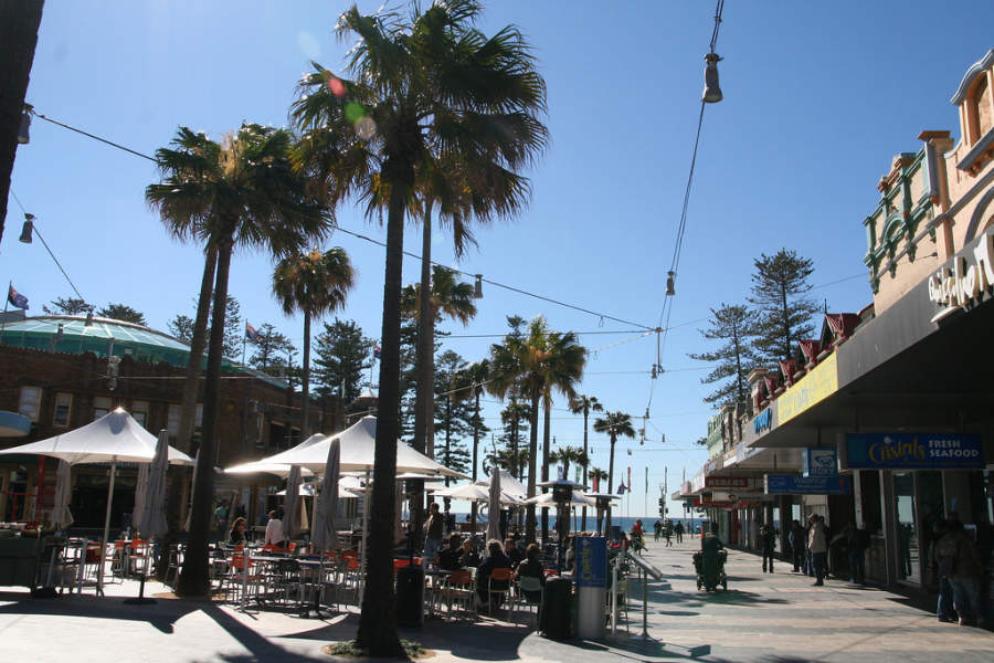 Zona de restaurantes en Manly Beach en Sídney