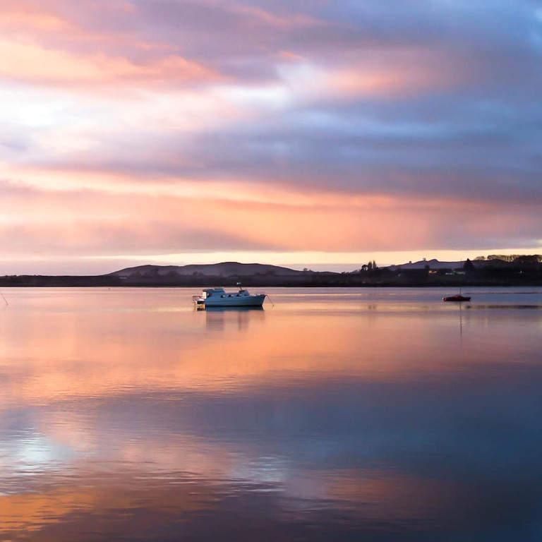 Atardecer en el puerto de Tauranga