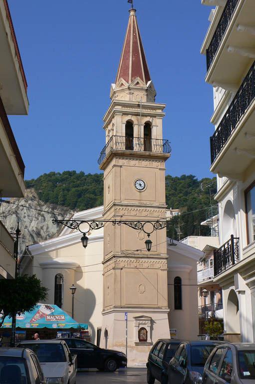 Torre de una iglesia en Zante
