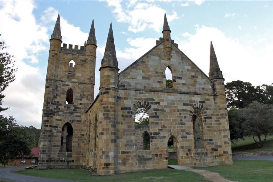 Antigua iglesia de estilo gótico en Port Arthur