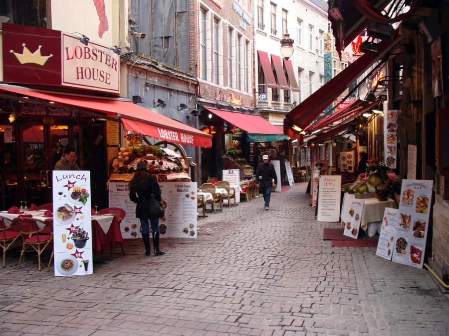 Área de restaurantes en Bruselas