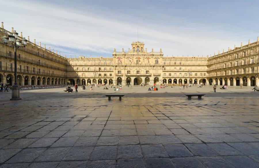 Plaza Mayor en el centro de Salamanca