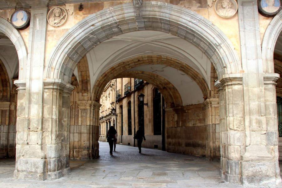 Arcos en la Plaza Mayor de Salamanca