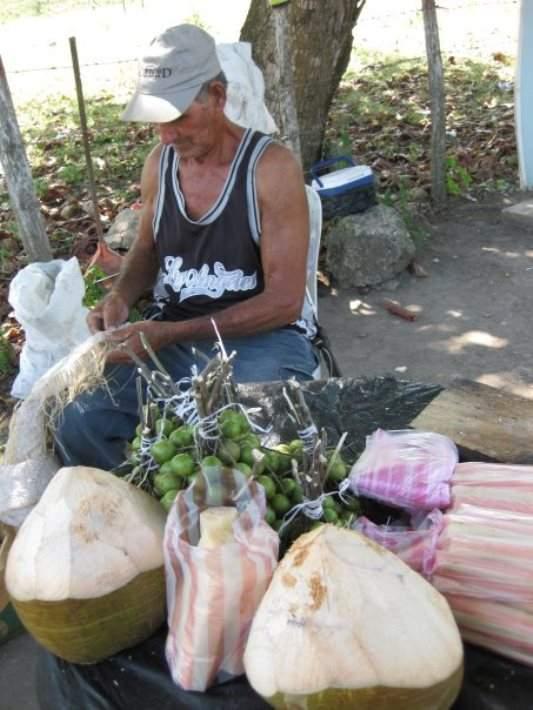Vendedor de cocos y frutas en Río San Juan