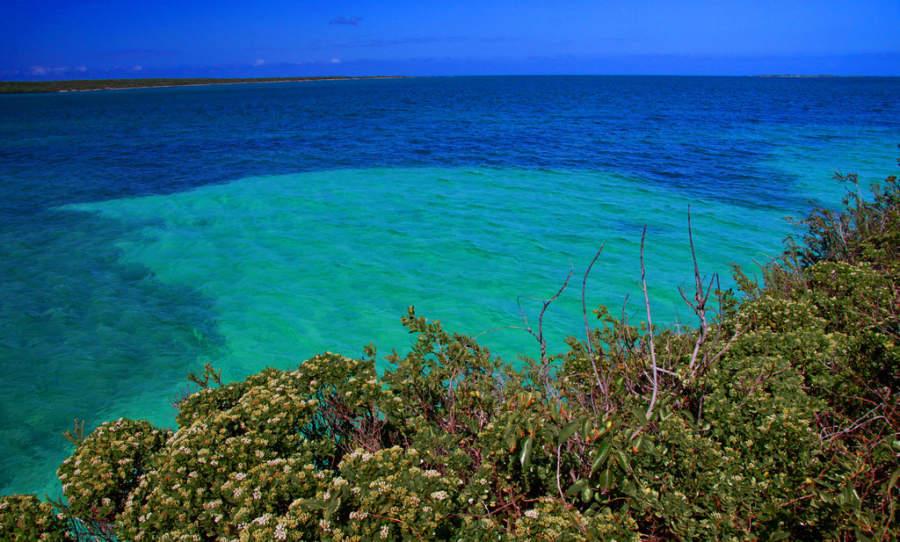 Diferentes profundidades en el mar de Cayo Las Brujas