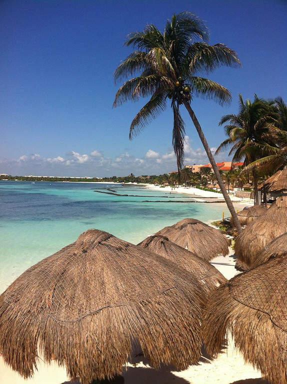 Palapas para tomar un descanso en una playa de Puerto Aventuras