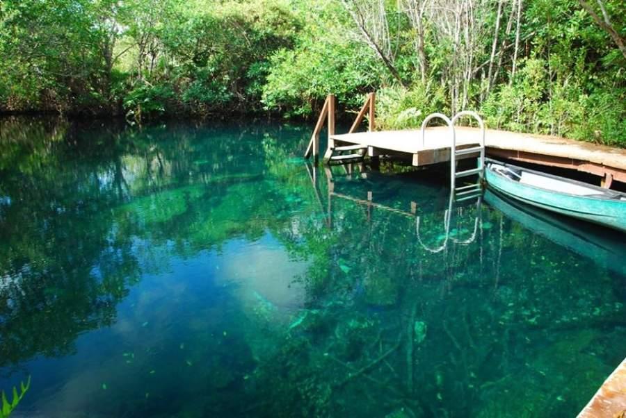 Cenote en el Parque Ecológico Tres Ríos cerca de Playa Paraíso